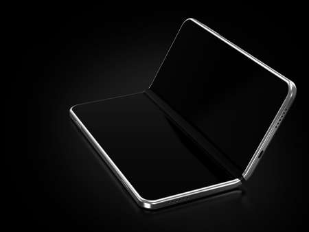 Concept of foldable smartphone folding on the longer side. Flexible smartphone isolated on black background with empty place on the screen. 3D rendering Standard-Bild