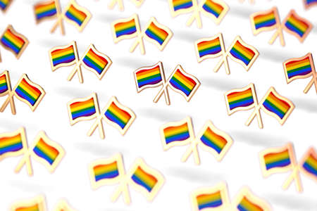 Shallow DOF focus on Rainbow LGBTQ flags group. Gay pride month symbol concept. Isolated on white background. 3D rendering