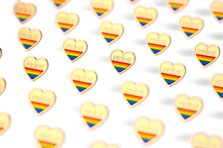 Blurry closeup shot on golden heart with rainbow and word PRIDE inside pattern. June as month of pride concept. Isolated on white background. 3D rendering