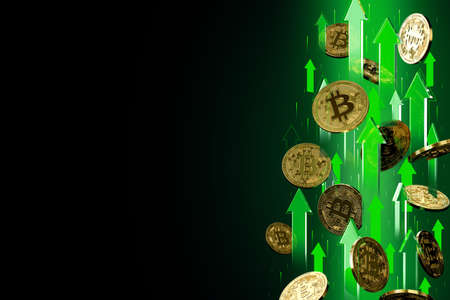 Green arrows pointing up as Bitcoin (BTC) price rises. Isolated on black background, copy space. Cryptocurrency prices grow concept. 3D rendering
