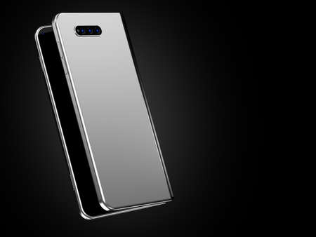 Concept of foldable smartphone folding on the longer side. Flexible smartphone isolated on black background. 3D rendering