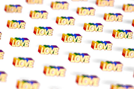 Closeup shot on Golden LOVE word with rainbow outline pattern. June as a month of gay pride and love concept. Isolated on white background. 3D rendering Imagens