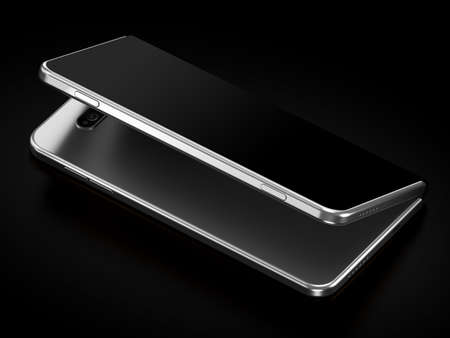 Concept of foldable smartphone folding on the longer side. Flexible smartphone isolated on black background with empty place on the screen. 3D rendering Imagens