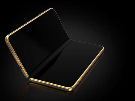 Concepto de smartphone plegable plegable en el lado más largo. Smartphone flexible aislado sobre fondo negro. Representación 3D Foto de archivo