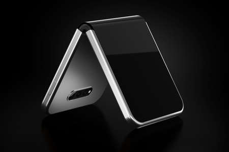 Concept of foldable smartphone folding on the shorter side. Flexible smartphone isolated on black background. 3D rendering Imagens