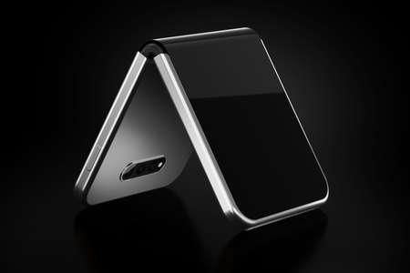 Concepto de smartphone plegable plegable en el lado más corto. Smartphone flexible aislado sobre fondo negro. Representación 3D Foto de archivo