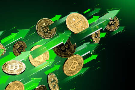 Green arrows points up as Bitcoin (BTC) price rises. Cryptocurrency prices grow, high risk - high profits concept. 3D rendering Imagens