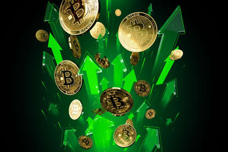 Green arrows shots up with high velocity as Bitcoin (BTC) price rises. Cryptocurrency prices grow, high risk - high profits concept. 3D rendering Imagens