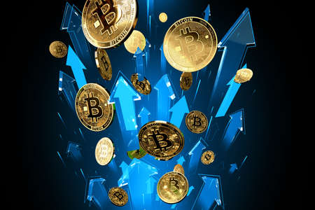 Blue arrows shots up with high velocity as Bitcoin (BTC) price rises. Cryptocurrency prices grow, high risk - high profits concept. 3D rendering Imagens