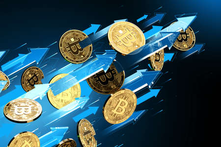 Blue arrows points up as Bitcoin (BTC) price rises. Cryptocurrency prices grow, high risk - high profits concept. 3D rendering Imagens - 125392607