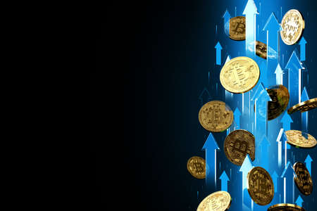 Blue arrows pointing up as Bitcoin (BTC) price rises. Isolated on black background, copy space. Cryptocurrency prices grow concept. 3D rendering Imagens