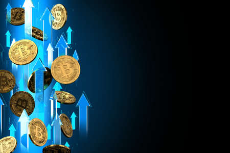 Blue arrows pointing up as Bitcoin (BTC) price rises. Isolated on black background, copy space. Cryptocurrency prices grow concept. 3D rendering Imagens - 125392611