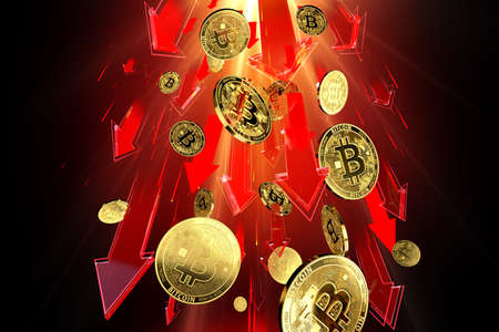 Red arrows pointing down as Bitcoin (BTC) price falls down with great speed. Cryptocurrency prices rapidly decline, high risk - high loss concept concept. 3D rendering
