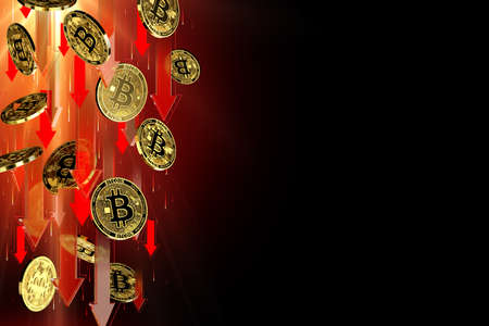 Red arrows pointing down as Bitcoin (BTC) price falls. Isolated on black background, copy space. Cryptocurrency prices decline concept. 3D rendering