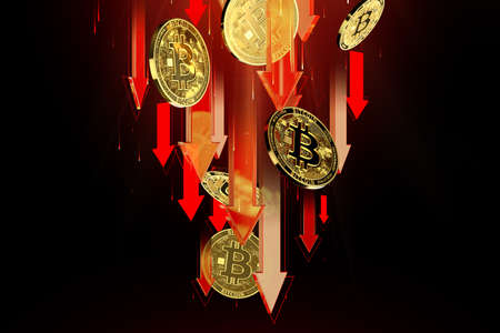 Red arrows pointing down as Bitcoin (BTC) price falls. Cryptocurrency prices decline, high risk - high loss concept. 3D rendering Imagens - 125392614