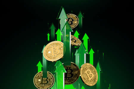 Green arrows shots up with high velocity as Bitcoin (BTC) price rises. Cryptocurrency prices grow, high risk - high profits concept. 3D rendering Imagens - 125392615