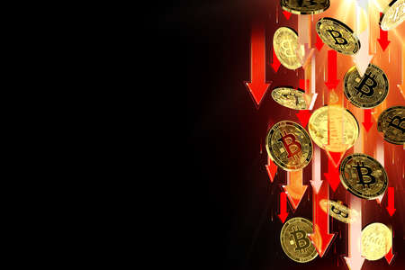 Red arrows pointing down as Bitcoin (BTC) price falls. Isolated on black background, copy space. Cryptocurrency prices decline concept. 3D rendering Imagens - 125392616