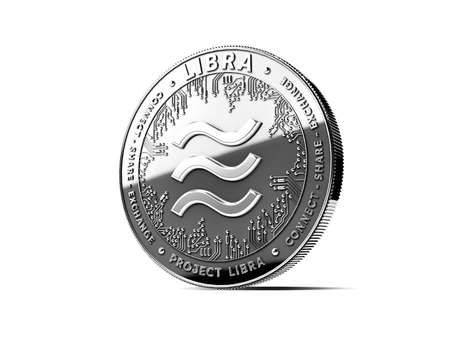 Silver Libra cryptocurrency concept coin isolated on white background. Project Libra conceptual design. 3D rendering