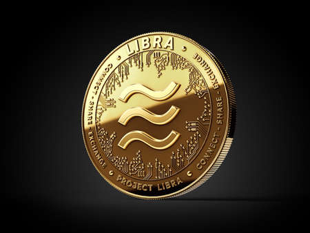 Golden Libra cryptocurrency concept coin isolated on black background. Project Libra conceptual design. 3D rendering