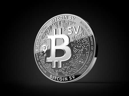 Silver Bitcoin Satoshi Vision (Bitcoin SV or BSV) cryptocurrency physical concept coin isolated on black background. 3D rendering