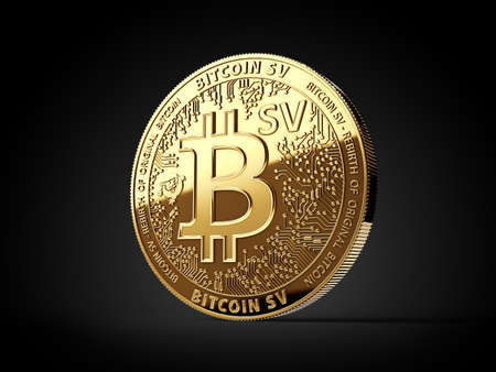 Golden Bitcoin Satoshi Vision (Bitcoin SV or BSV) cryptocurrency physical concept coin isolated on black background. 3D rendering