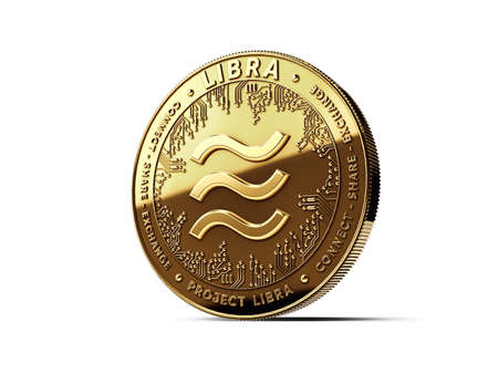 Golden Libra cryptocurrency concept coin isolated on white background. Project Libra conceptual design. 3D rendering Imagens - 125392639