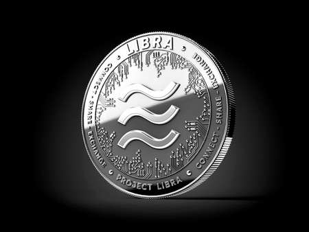 Silver Libra cryptocurrency concept coin isolated on black background. Project Libra conceptual design. 3D rendering Imagens