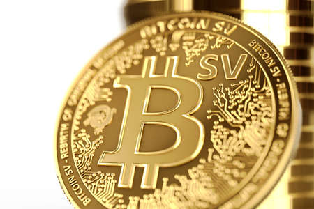 Close up shot on BSV letters on conceptual Bitcoin Satoshi Vision coin (Bitcoin SV). 3D rendering Imagens - 125392708