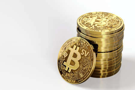 Pile of Bitcoin Satoshi Vision (Bitcoin SV or BSV) cryptocurrency isolated on white background. Concept coin. 3D rendering Imagens - 125392713