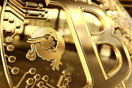 Close up shot on Dragon Logo on conceptual Bitcoin Satoshi Vision coin (Bitcoin SV or BSV). 3D rendering Imagens