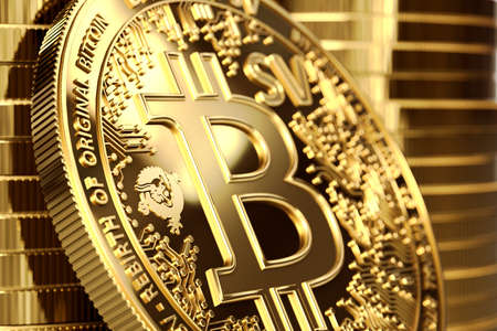 Close up shot on BSV letters on conceptual Bitcoin Satoshi Vision coin (Bitcoin SV). 3D rendering Imagens