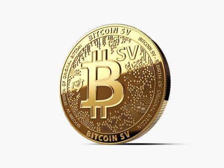 Golden Bitcoin Satoshi Vision (Bitcoin SV or BSV) cryptocurrency physical concept coin isolated on white background. 3D rendering Imagens