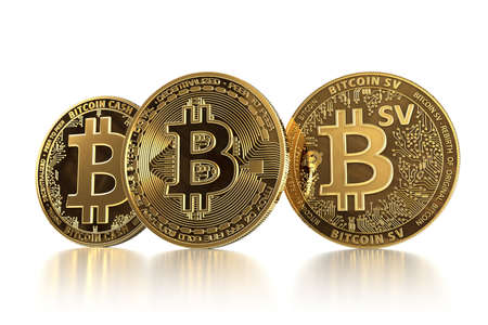 Three different Bitcoin coins after forks. Bitcoin (BTC) facing Bitcoin Cash (BCH) and Bitcoin Satoshi Vision (BSV) concept. 3D illustration