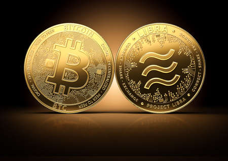 Bitcoin and Libra fights for the leadership on a gently lit dark background. Competing cryptocurrencies concept.3D rendering Imagens - 125392721