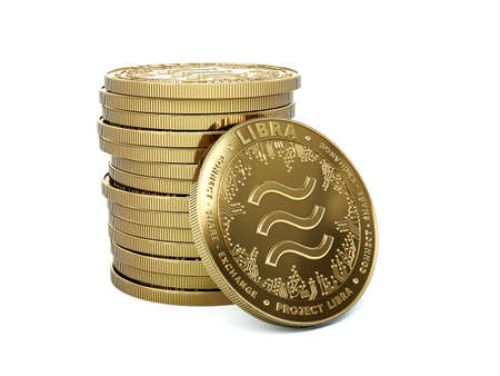 Pile of Libra cryptocurrency with one coin facing towards. Isolated on white background. Concept coins. 3D rendering Imagens - 125392745
