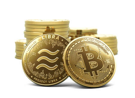Bitcoin and Libra - recently announced cryptocurrency in front of other coins stacks and piles. Concept design coin isolated on white background. 3D illustration Imagens