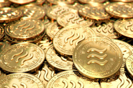 Stack of golden Libra cryptocurrency concept coins in blurry closeup. 3D rendering Imagens - 125392747