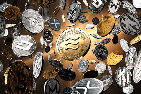 Flying altcoins with Libra concept coin in the center as probably new the most popular cryptocurrency. Golden starburst background - 3D rendering Imagens - 125392785