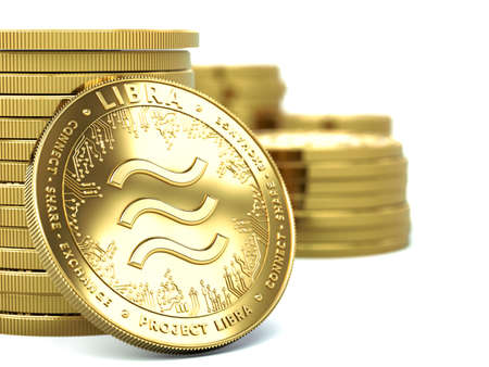 Piles of Libra cryptocurrency with one coin facing towards. Concept coins. 3D rendering Imagens - 125392788