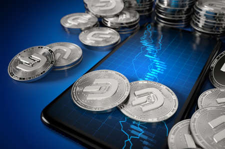 Smartphone with Dash coin trading chart on-screen among piles of silver Dash coins (with 2019 update logo). 3D rendering