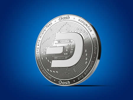 Dash cryptocurrency concept coin with new, 2019 updated logo. Isolated on blue background. 3D rendering