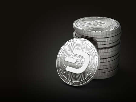 Pile of silver Dash coins with 2019 logo update, isolated on black background with copy space on the left. New virtual money. 3D rendering Imagens