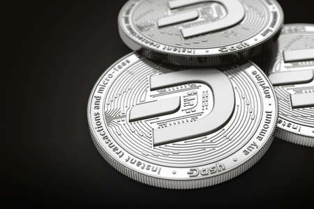 Macro shot of Dash coins with 2019 updated logo and copy space on the left where you can place your text or chart. Isolated on black. 3D rendering