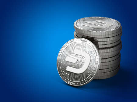 Pile of silver Dash coins with 2019 logo update, isolated on blue background with copy space on the left. New virtual money. 3D rendering