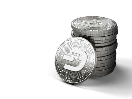 Pile of silver Dash coins with 2019 logo update, isolated on white background with copy space on the left. New virtual money. 3D rendering