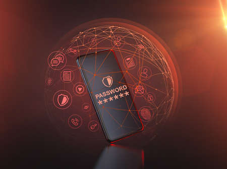 Smartphone surrounded by red nodes and protective force field. Attempted hacker attack - cyber security concept. 3D rendering Imagens - 132282607