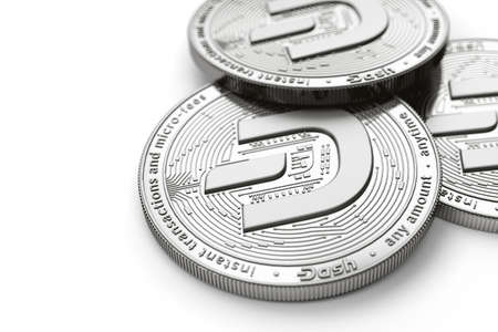 Macro shot of Dash coins with 2019 updated logo and copy space on the left where you can place your text or chart. Isolated on white. 3D rendering
