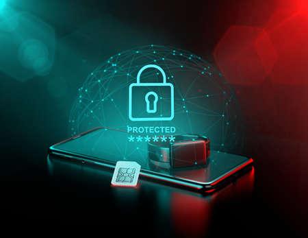Smartphone e orologio intelligente circondati da un campo di forza come metafora della sorveglianza dei dati e della sua protezione. Rendering 3D
