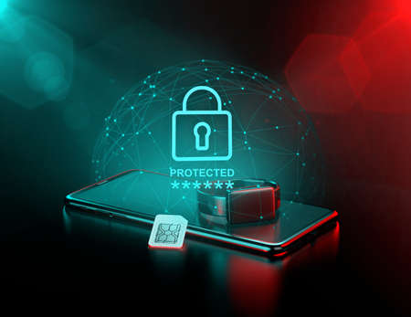 Smartphone et montre intelligente entourés d'un champ de force comme métaphore de la surveillance des données et de leur protection. rendu 3D