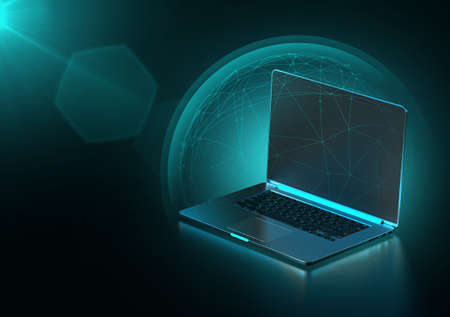 Data protected with blue force field like shield around laptop computer, copy space on blank notebook screen. Cyber security concept. 3D rendering Imagens